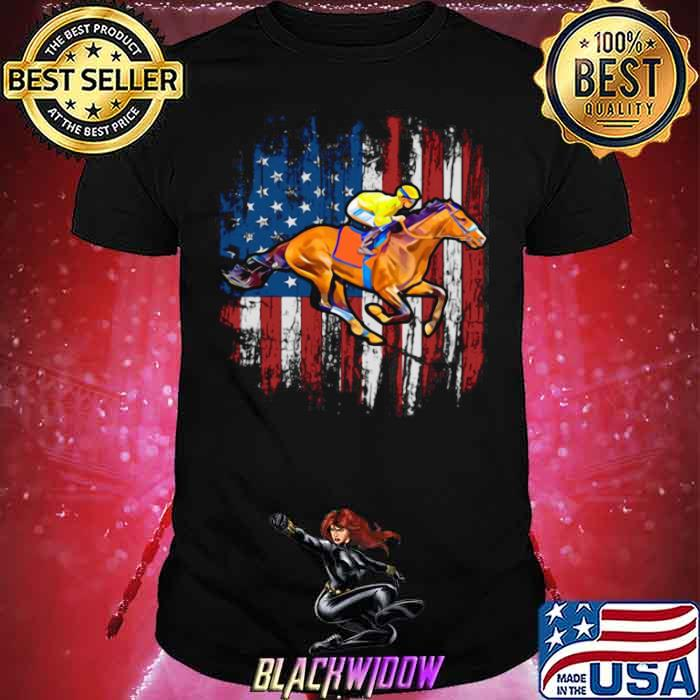 American Flag Horse Racing shirt - Copy