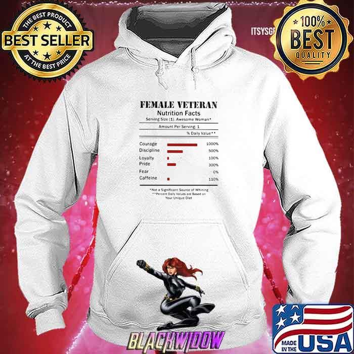 Female Veteran Natrition Facts Shirt Hoodie