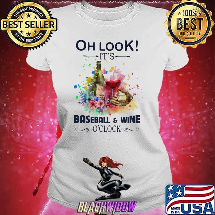Oh Look It's Baseball And Wine Oclock Flowers Shirt Ladies tee