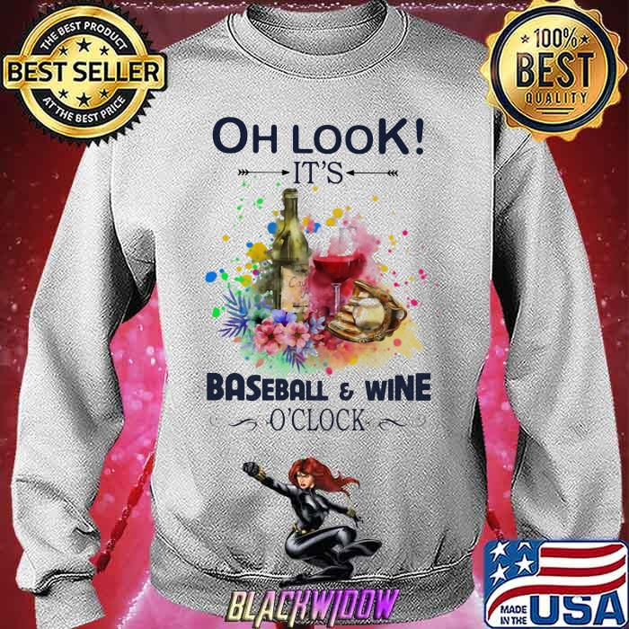 Oh Look It's Baseball And Wine Oclock Flowers Shirt Sweatshirt