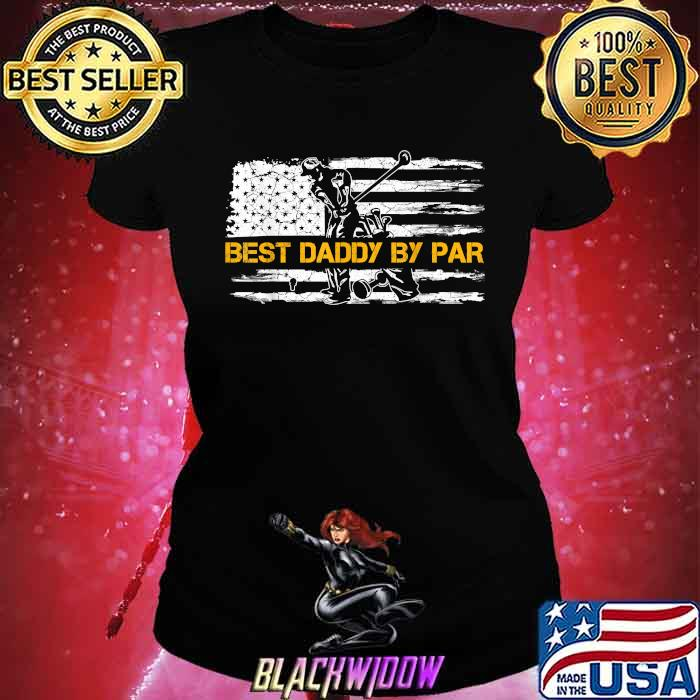 Vintage US American Flag Best Daddy By Par Golfer Silhouette Shirt Ladies tee