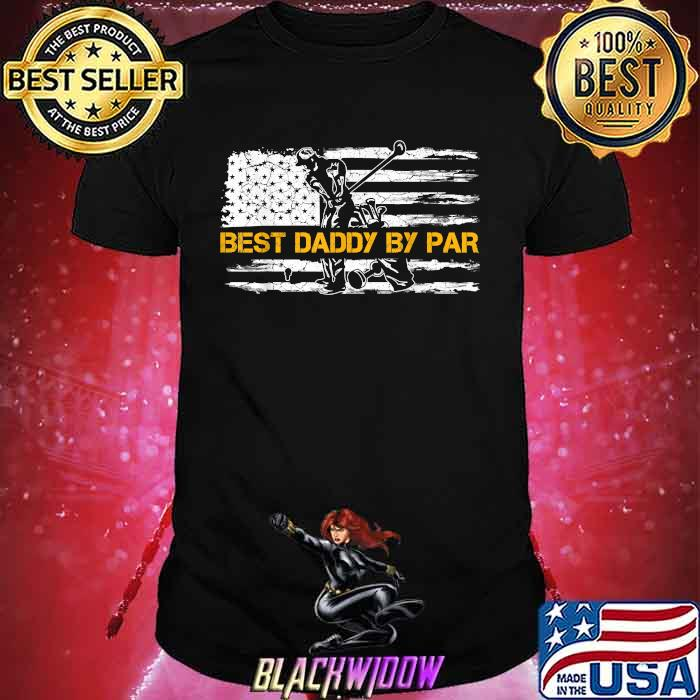 Vintage US American Flag Best Daddy By Par Golfer Silhouette Shirt
