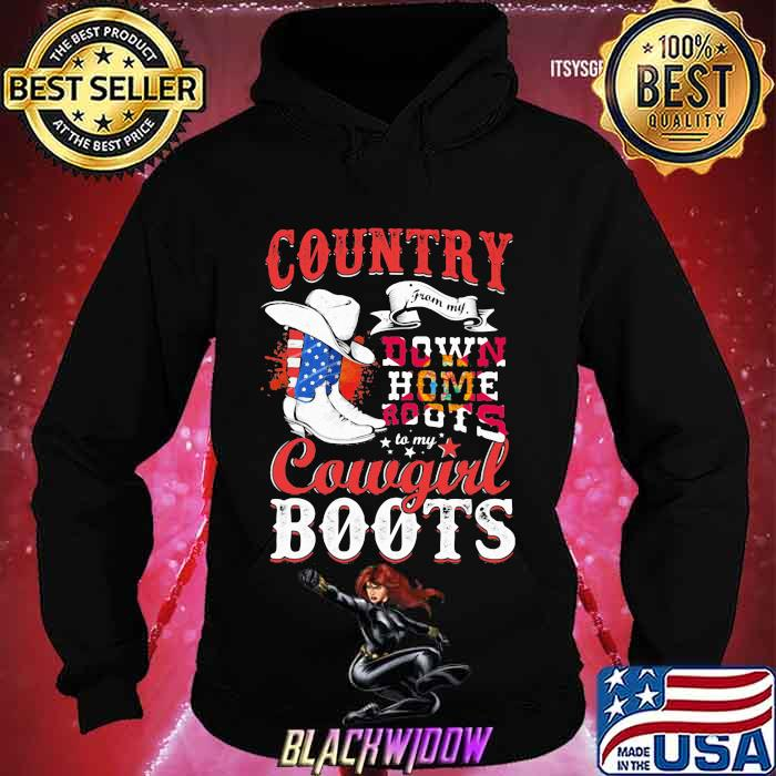 Country Down Home Roots Cowgirl Boots American Flag Shirt Hoodie