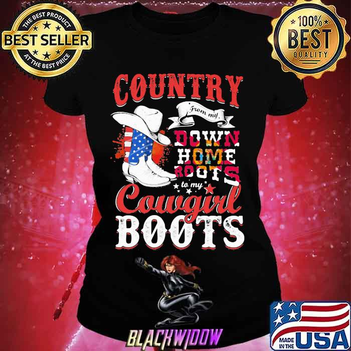 Country Down Home Roots Cowgirl Boots American Flag Shirt Ladies tee