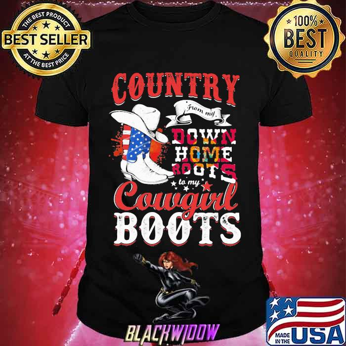 Country Down Home Roots Cowgirl Boots American Flag Shirt