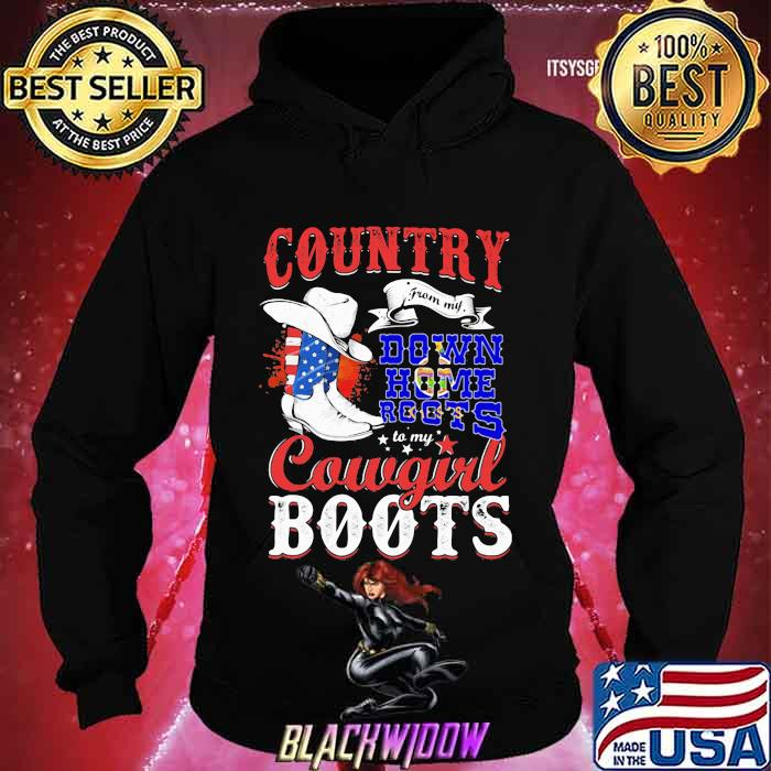 Kanas Country Down Home Roots Cowgirl Boots American Flag Shirt Hoodie