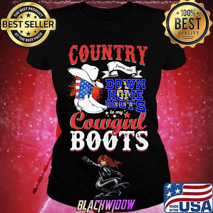 Kanas Country Down Home Roots Cowgirl Boots American Flag Shirt Ladies tee