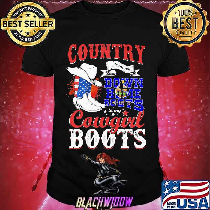 Kanas Country Down Home Roots Cowgirl Boots American Flag Shirt