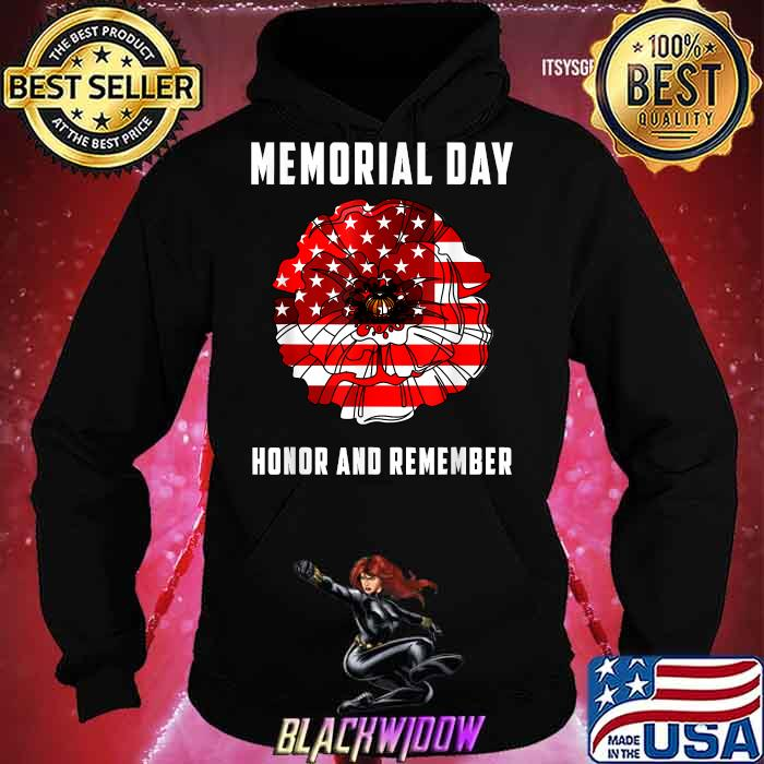 Memorial Day Honor And Remember veterans Day Red Poppy Flower USA Flag 2021 Shirt Hoodie